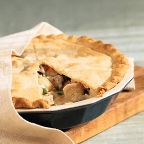 Turkey Potpie 1 1/2 cups all-purpose flour  1/2 tsp. salt  6 Tbs. (3/4 stick) unsalted butter, cut into    small pieces  1/4 cup vegetable shortening  3 to 4 Tbs. ice water 3 cups turkey or chicken stock  4 thyme sprigs  1 bay leaf  15 pearl onions  4