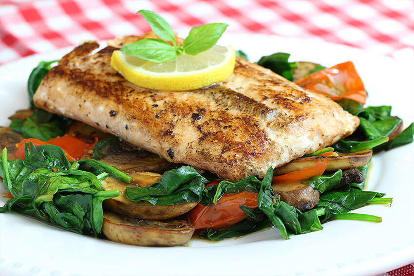 Seared Salmon with Sauteed Spinach & Mushrooms