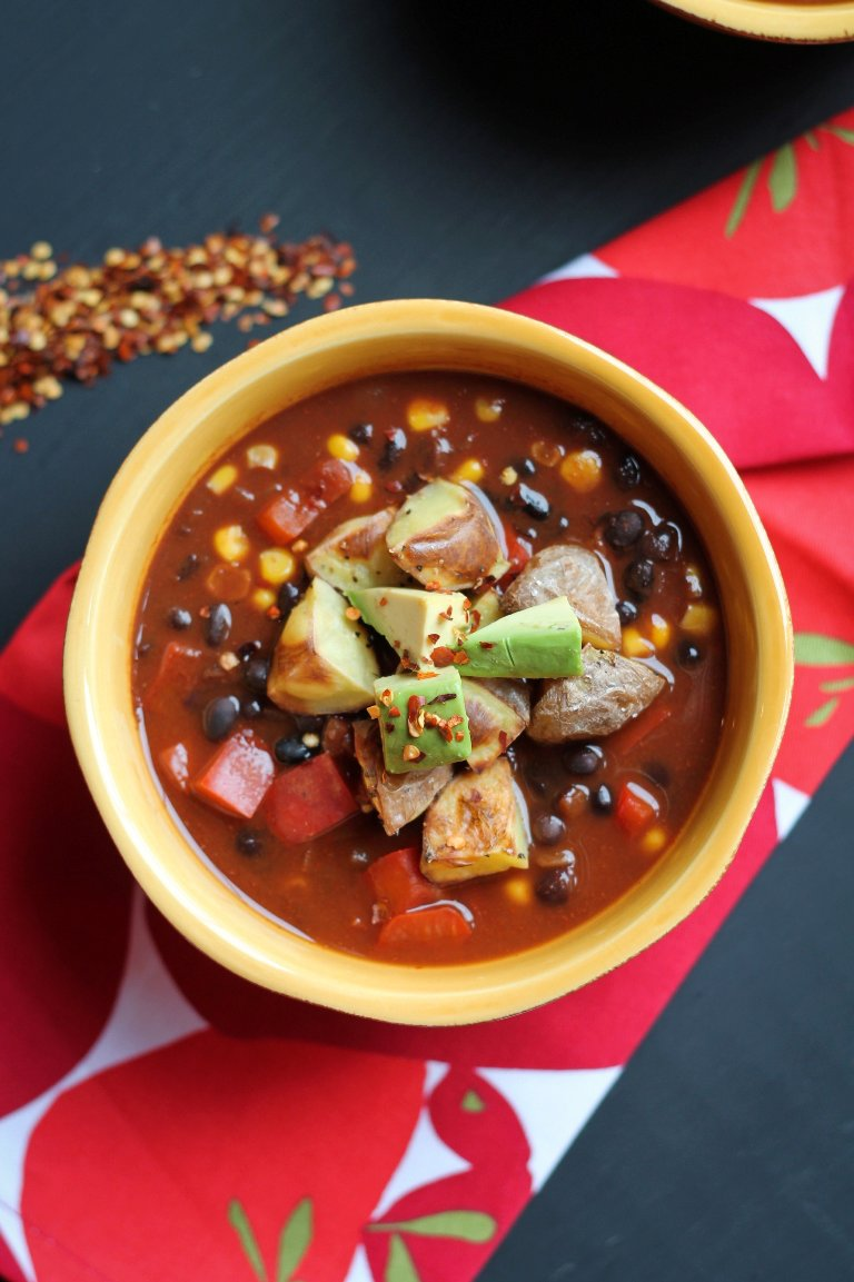 Cocoa Black Bean Chili with Roasted Potatoes