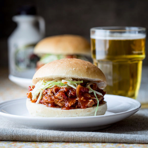 slow cooker maple chipotle pulled chicken