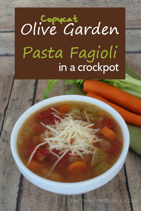 Homemade Olive Garden Pasta Fagioli Soup Copycat Recipe...In a Crockpot