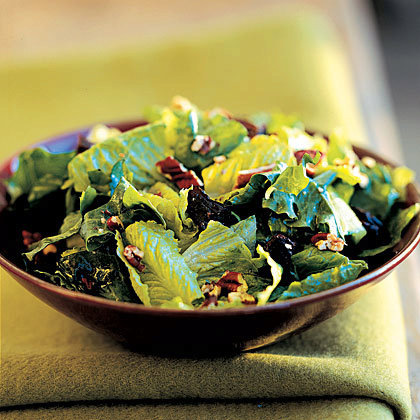 Mixed Green Salad With Dried Plums and Toasted Pecans