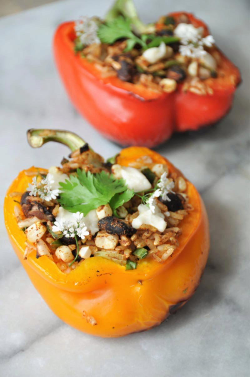 Grilled Vegan Dirty Rice Stuffed Peppers