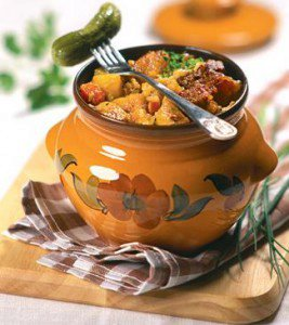 Potato with meat in a pot