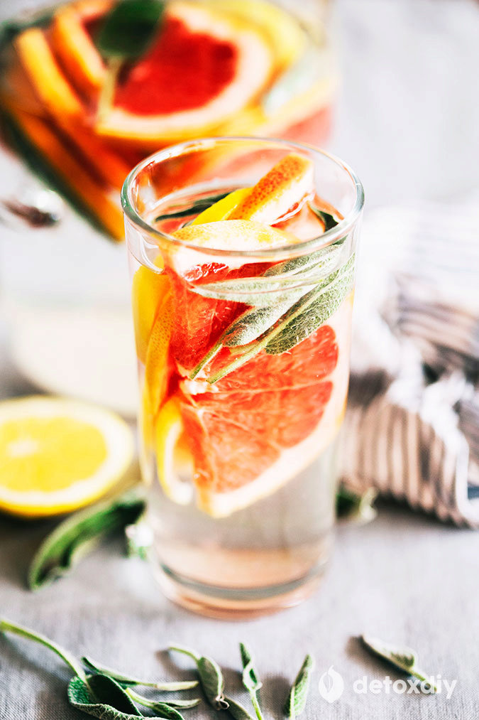 Grapefruit, Lemon and Sage Infused Water