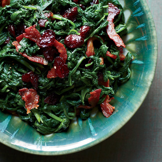 Home Vegetables Greens Spinach            Sautéed Spinach with Pancetta and Dried Cranberries                              Maria Helm Sinskey