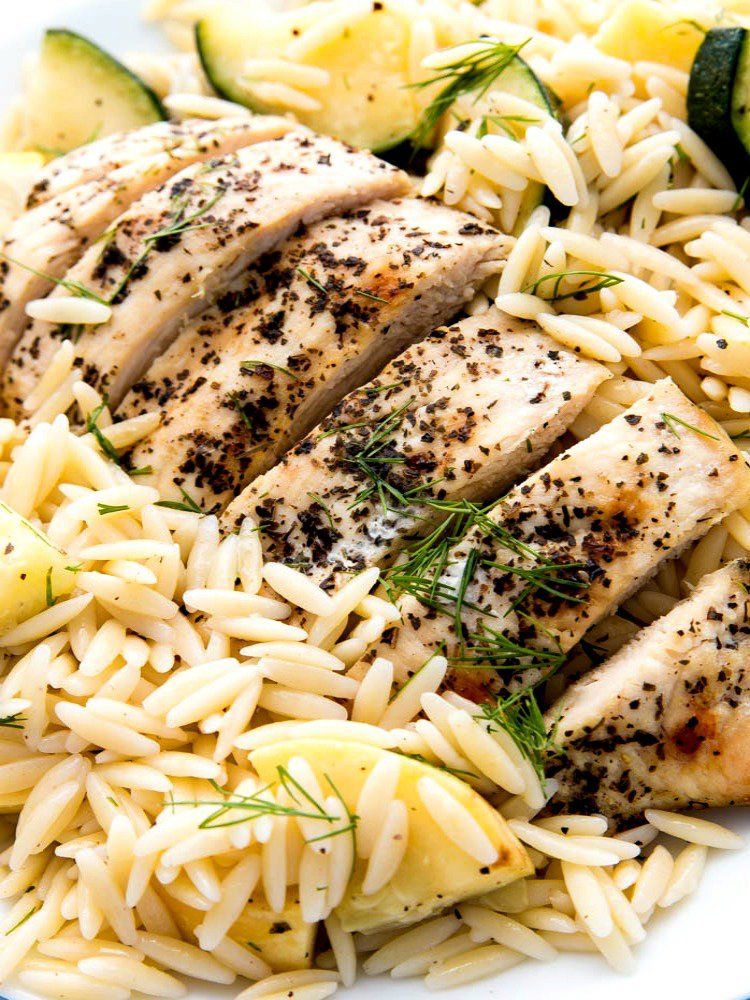 Herbed Chicken Orzo Pasta and Zucchini