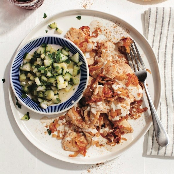 Spiced tahini chicken with cucumber salad