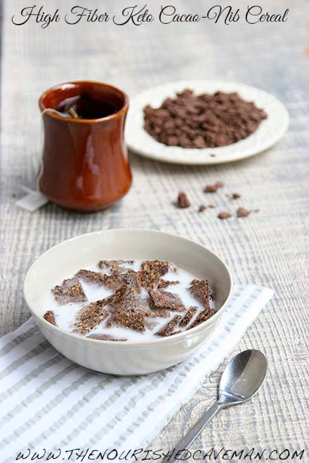 High Fiber Cereal With Cacao Nibs Keto and Low Carb