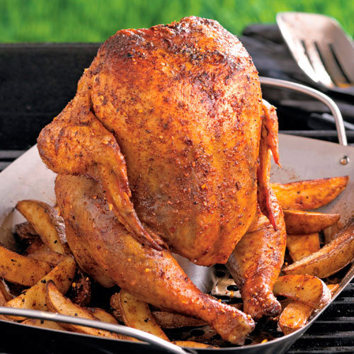 Smoky Beer Can Chicken with Potato Wedges Asparagus & Roasted Red Pepper Tart Ribboned Melon & Chicken Salad  Protein Cooking Chart Lemon Artichoke Pasta Ginger Citrus Chicken Lettuce Wraps Fresh Spinach & Red Pepper Frittata Cheesy Chicken & Broccoli Squ