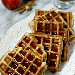 Apple Pancetta Waffles with Bourbon Cider Syrup