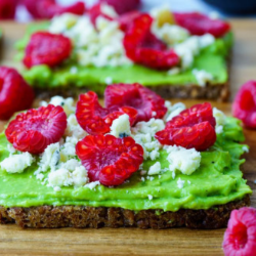 Avocado Raspberry & Crumbled Cheese Toast