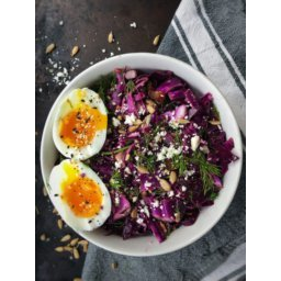 Shredded Red Cabbage Salad with Dates and Feta