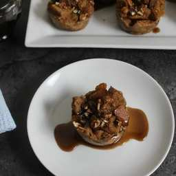 Mini Spiced Rum Raisin Bread Pudding with Spiced Rum Syrup