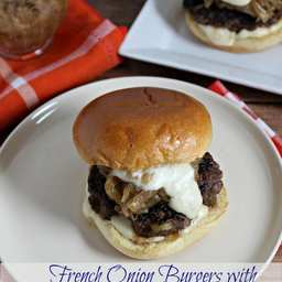 French Onion Burgers with Gruyere Cheese Sauce