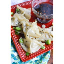 Edamame and Mushroom Potstickers with Dipping Sauce