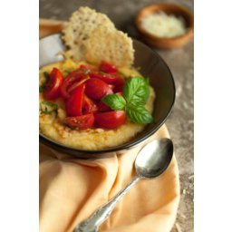 Easy Creamy Polenta with Fresh Tomatoes and Parmesan Crisps