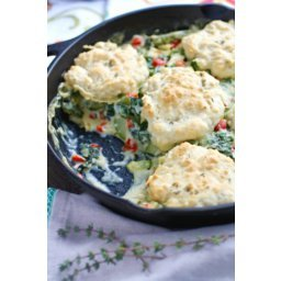 Creamy Skillet Veggies with Homemade Drop Biscuits