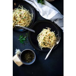 Lemon Caper Pasta with Toasted Almonds and Parmesan