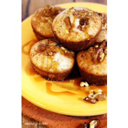Apple Cider Muffins with Walnuts and Warm Caramel Sauce Drizzle