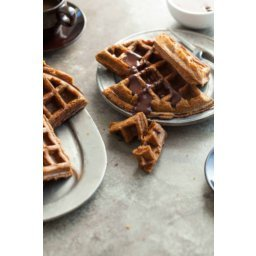 Chocolate Chip Almond Butter Waffles with Chocolate Sauce (Gluten-Free, Grain-Free, Paleo-Friendly)