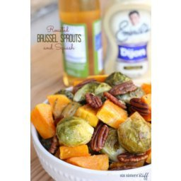Roasted Brussels Sprouts and Squash in Dijon Vinaigrette