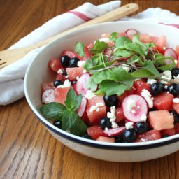 Watermelon, Blueberry, and Radish Salad with Lime and Fresh Mint Vinaigrette