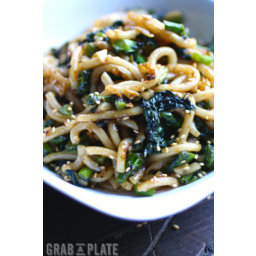 Pan-Fried Udon Noodles with Garlic and Rapini
