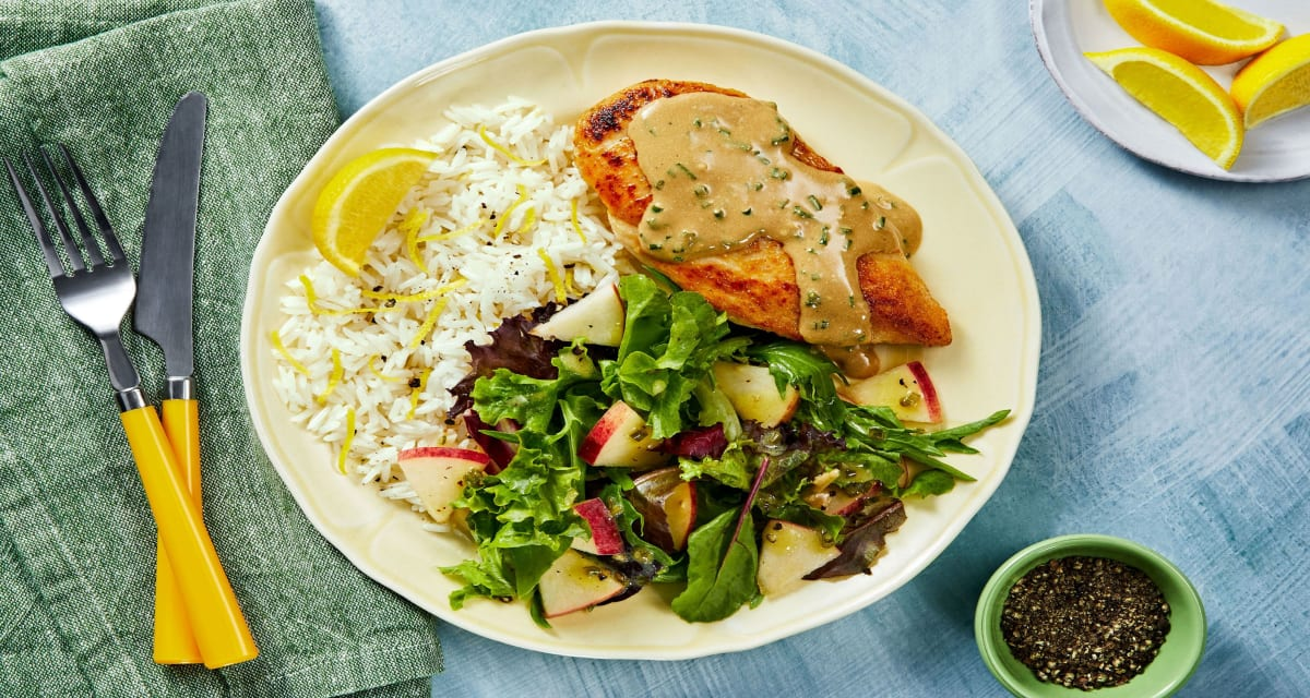 Creamy Chive Chicken with Lemony Rice and Dijon Apple Salad