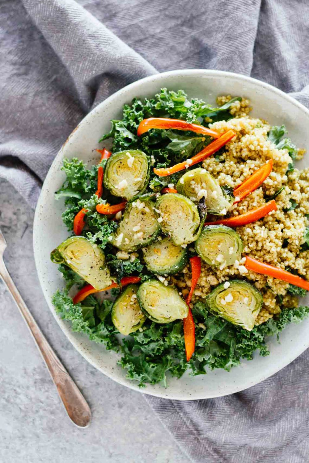 Kale Quinoa Curry Salad w/ Roasted Brussel Sprouts