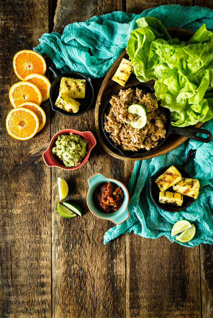 Whole 30 Ancho Pulled Pork Lettuce Cups with Grilled Pineapple