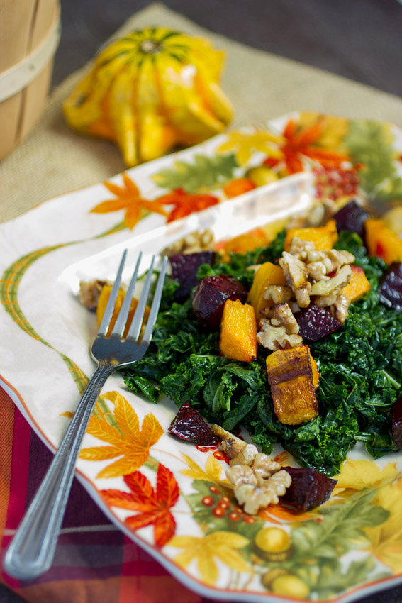 Massaged Kale Salad with Butternut Squash and Beets