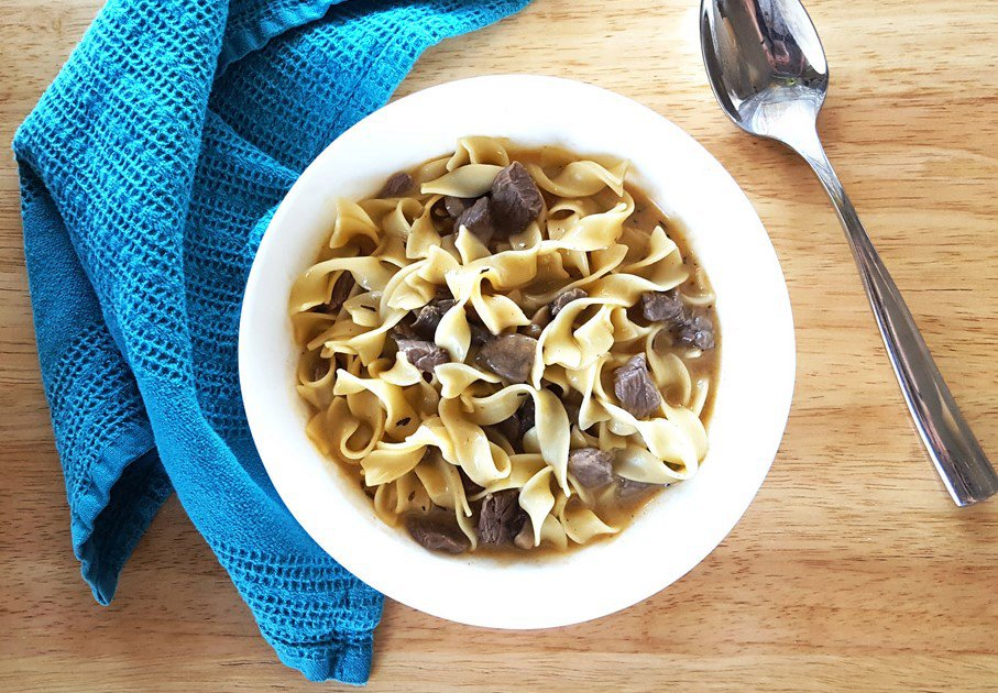 One Pot Beef Stroganoff Soup with Sauteed Mushrooms and Egg Noodles