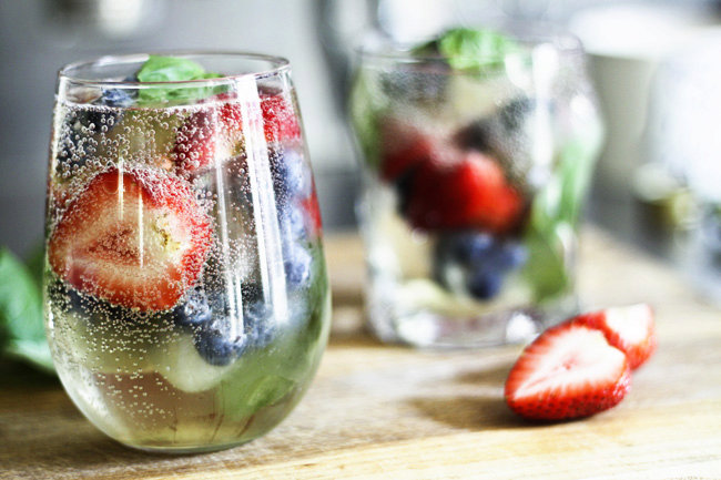 Mixed Berry and Basil Sangria-By-The-Glass (and mocktail variation)   Make Ahead Mondays
