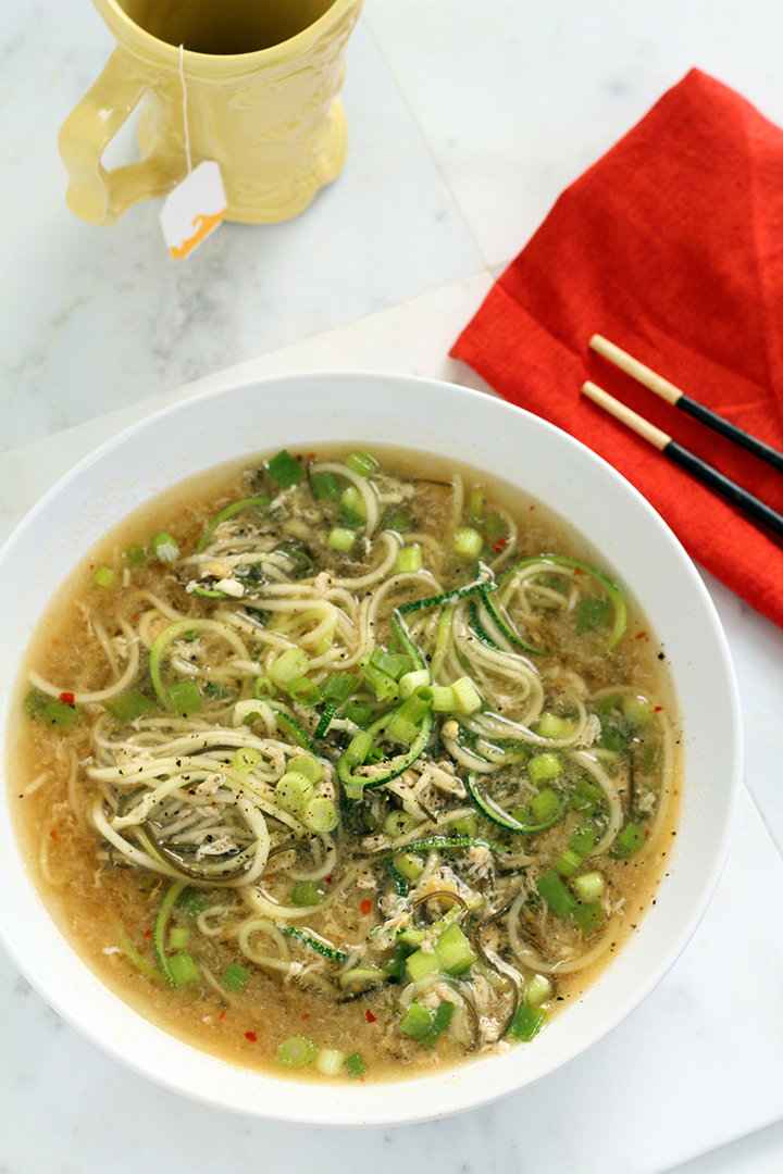 Spicy Ginger Scallion & Egg Drop Zucchini Noodle Bowl