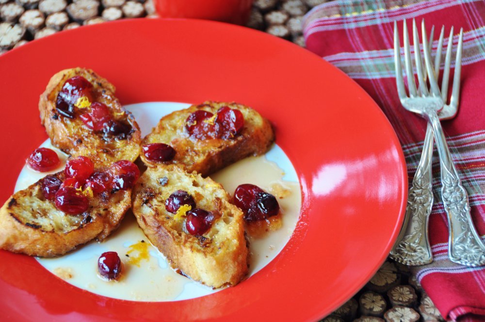 Vegan Eggnog French Toast with Cracked Cranberry Maple Syrup