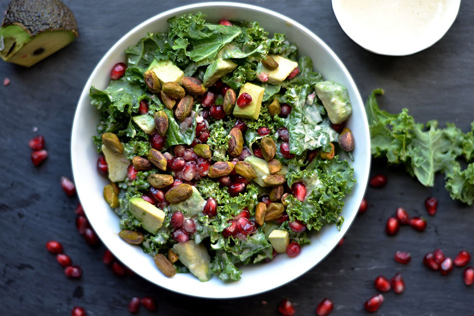 Kale, Pomegranate, and Avocado Salad with Zesty Tahini ...