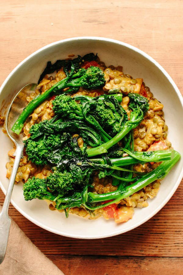 Tomato-Braised Lentils with Broccoli Rabe?
