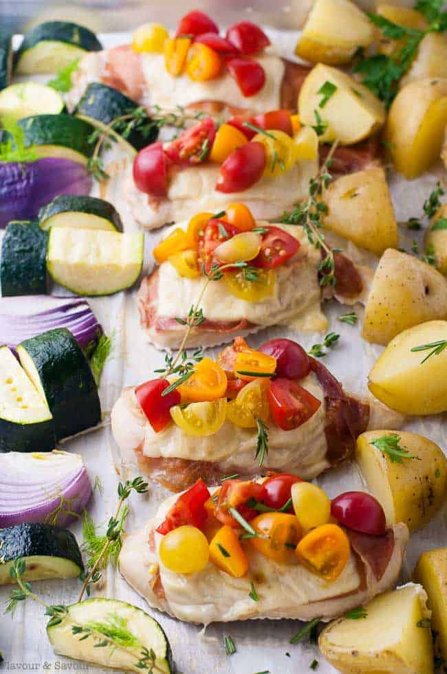 Prosciutto and Cheesy Chicken Sheet Pan Dinner