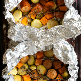 Spicy Sausage and Brussel Sprouts Foil Packets