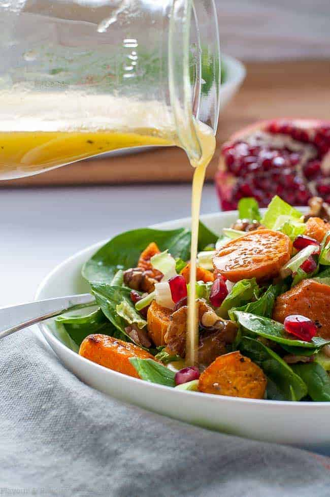 Roasted Sweet Potato Spinach Salad with Maple Walnuts and Bacon