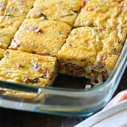 Veggie Ham and Cheese Egg Bake