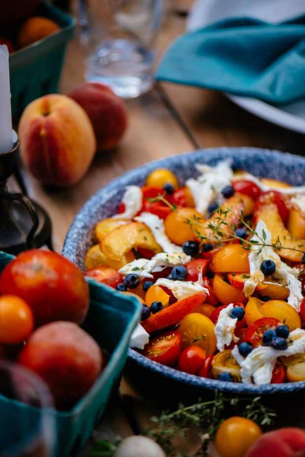 Tomato Peach Caprese with Blueberries