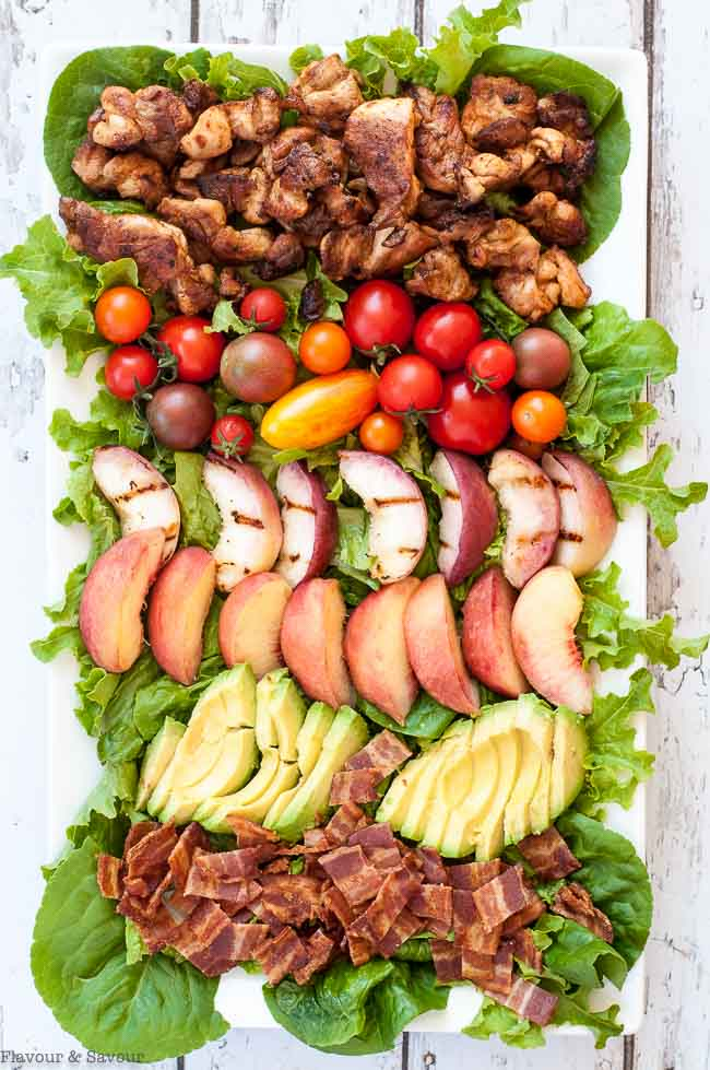 Chipotle Chicken Cobb Salad with Peaches
