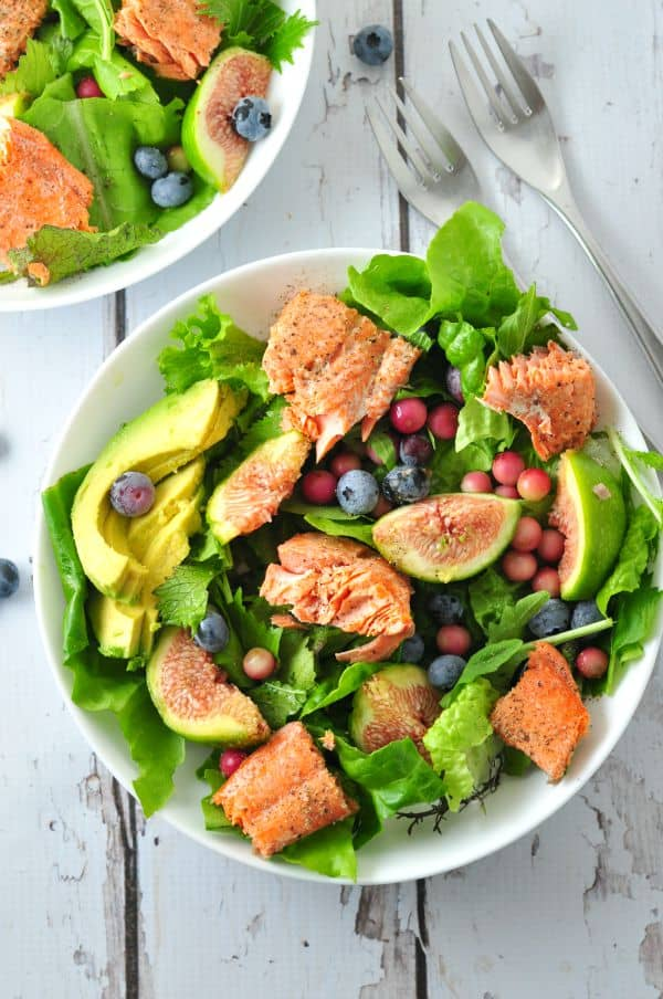 Grilled Salmon Salad with Blueberries and Figs