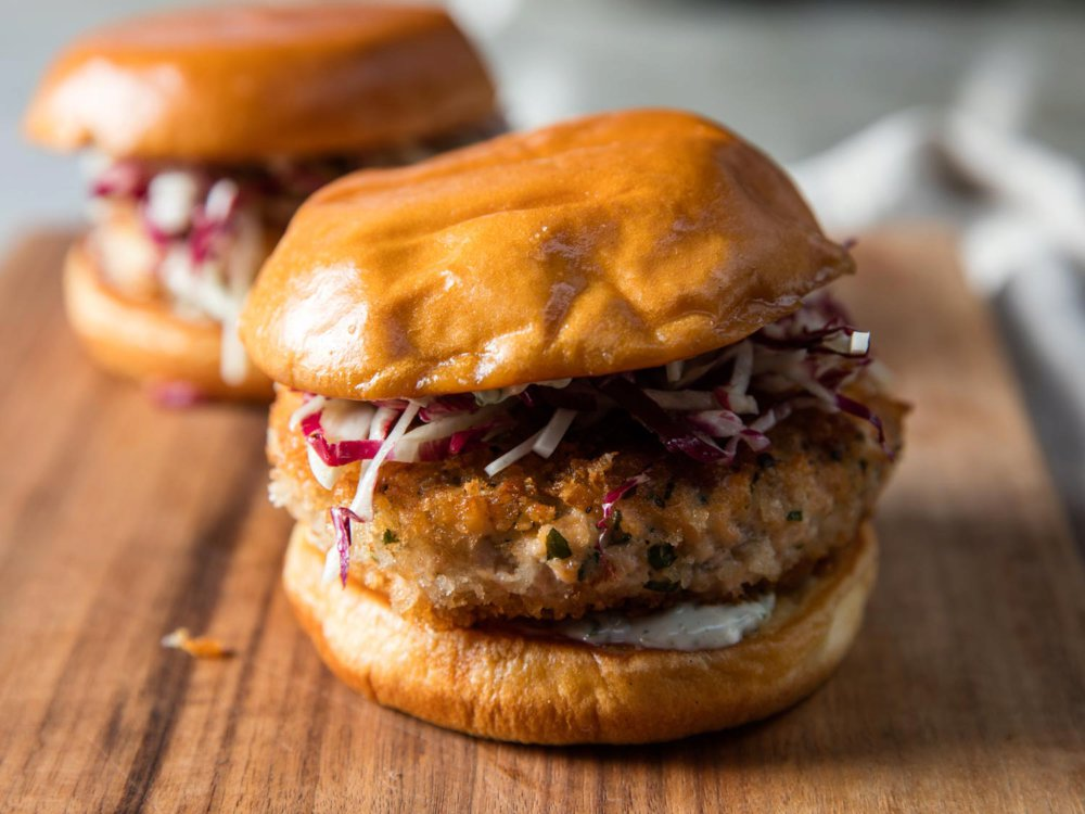 Salmon Burgers With Remoulade and Fennel Slaw Recipe