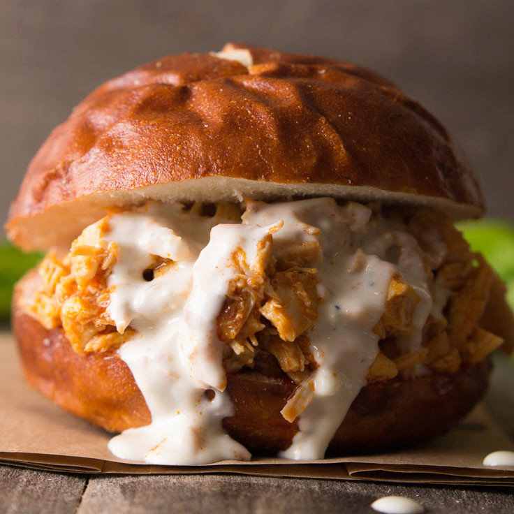 Buffalo Chicken Sliders with Easy Blue Cheese Dressing