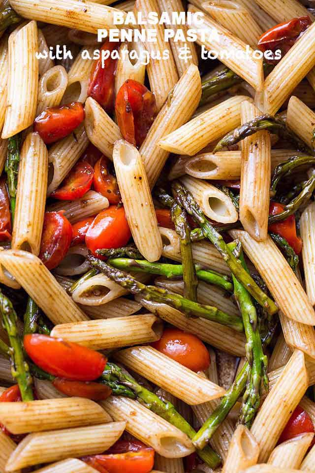 Balsamic Penne Pasta with Asparagus and Tomatoes