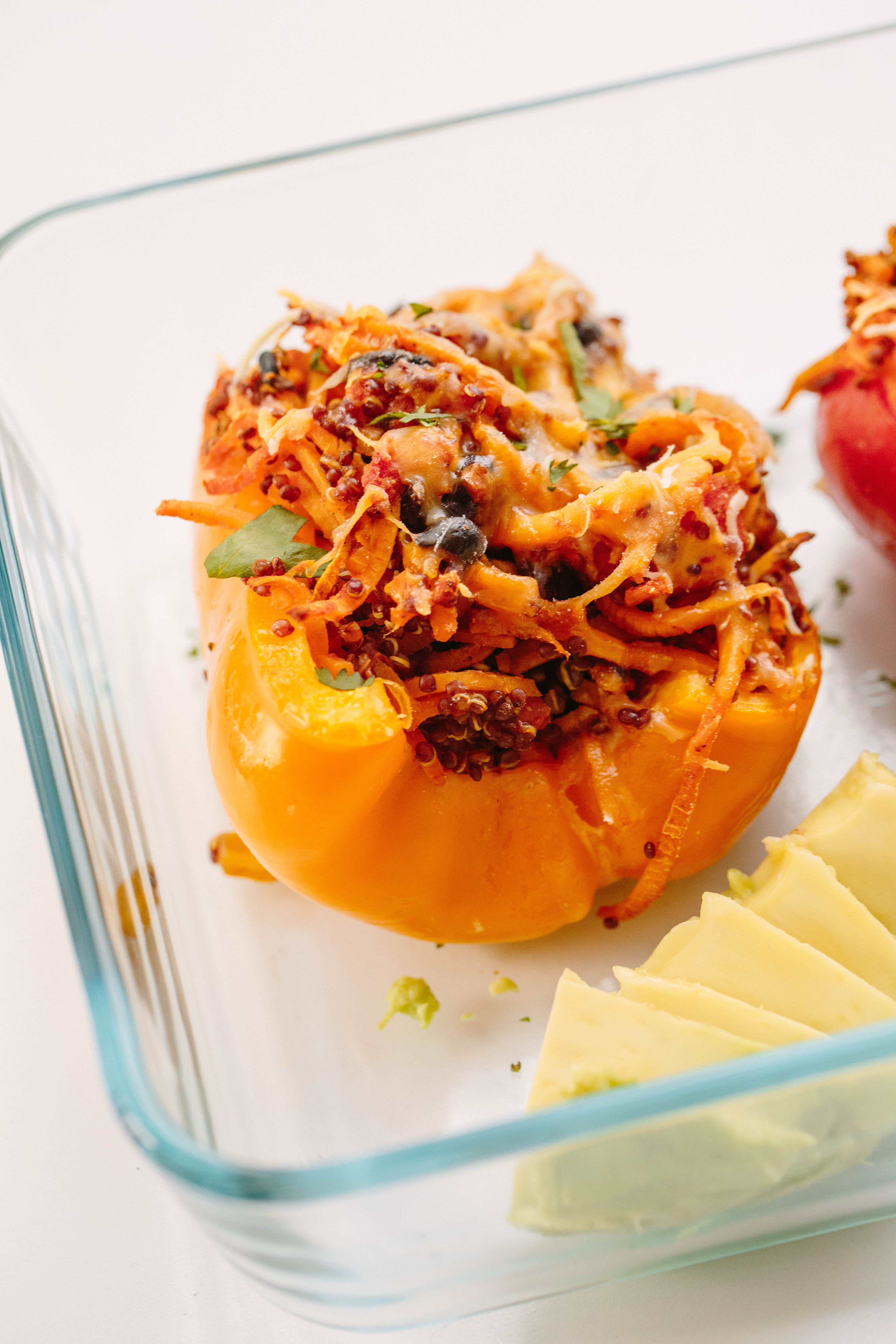 Southwest Quinoa and Spiralized Sweet Potato Stuffed Bell Peppers