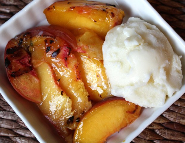 Grilled Peaches with Homemade Vanilla Ice Cream